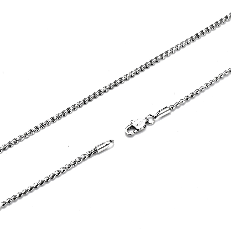 Amyrt Jewelry runde Schlangenhalskette, 2mm breit, aus Silbertitan / Stahl für Männer und Frauen 40,6–76,2cm ASSL-SR2-16