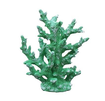 SD&EY Artificial Coral Tree Simulación Coral Ramas Resina para Acuario Waterscape Peces Tanque Ornamentos,Green