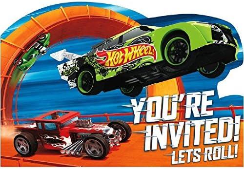 [해외]Amscan 빠른 라이딩 핫 휠 와일드 레이서 생일 파티 엽서 멀티 컬러 4 14 x 6 14 / Hot Wheels Wild Racer Postcard Invitations, Party Favor
