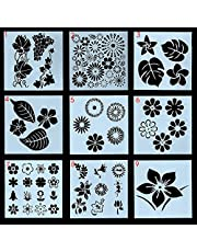 Professional stencils 1pc Drawing Stencils Flowers and Leaves Template PET Material Cake Template Reusable for DIY Painting Craft Journal Notebook Diary Scrapbooking Card Decoration