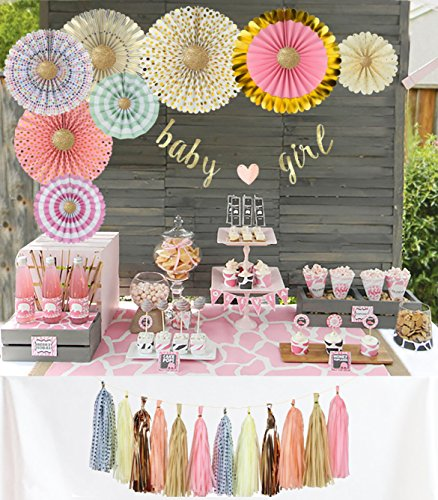 (YARA Baby Shower Decorations for Girl| Pink and Gold Baby Shower| Cardstock Paper Fans| Pink Party Decorations| Baby Girl Banner| Hanging| Tassels| Glitter Gold| Pink| Cream| 29)
