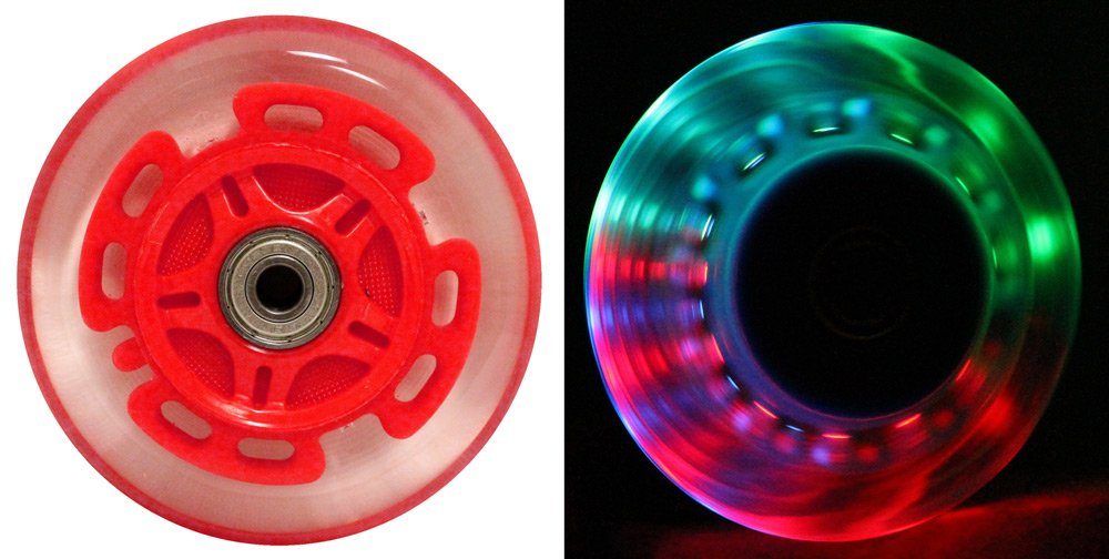 LED SCOOTER WHEELS ABEC9 BEARINGS for RAZOR SCOOTERS 100mm LIGHT UP Red 2-pack