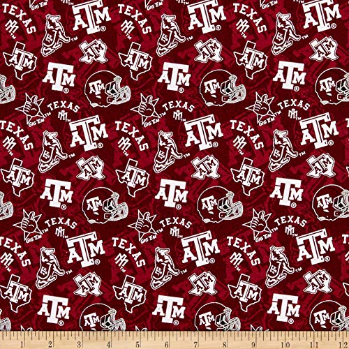 Sykel Enterprises NCAA- Texas A&M 1178 Tone on Tone Maroon/White, Fabric by the Yard