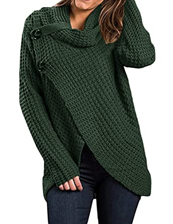 Huiyuzhi Women Long Sleeve Turtleneck Button Down Knit Hooded