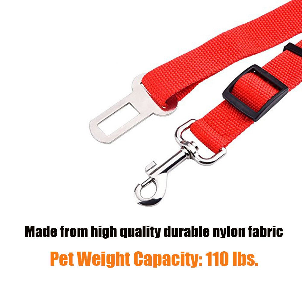 Red, 2 Pack adjustable safety seat belt restraint for travel with your pet Ploopy Adjustable Pet Dog Cat Safety Seat Belt Automobile Seatbelt Adapter Extender