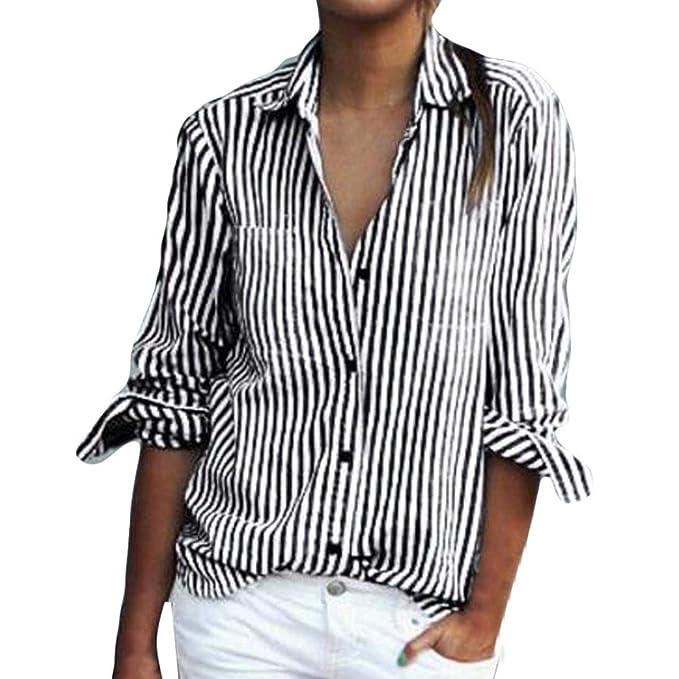 JiaMeng Camiseta para Mujer de Rayas Manga DE Blusa Suelta de Manga Larga a Rayas Camiseta