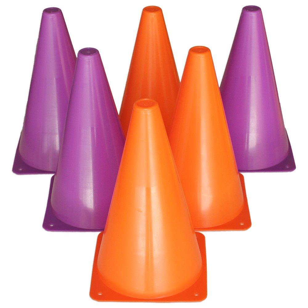 Eduball Traffic Cones / Training Markers (Set of 6), 9 inches in Orange & Purple