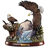 Ted Blaylock Watchful Winged American Bald Eagle Sculpture Showcases Guardians Falls Artwork by The Bradford Exchange