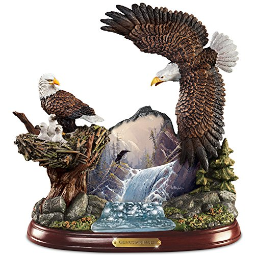 Ted Blaylock Watchful Winged American Bald Eagle Sculpture Showcases Guardians Falls Artwork by The Bradford Exchange Ted Blaylock Eagle