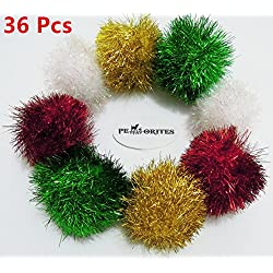 PetFavorites™ Bushy Sparkle Ball Cat Toy, Interactive Glitter Pom Pom Cat Toy Balls for Kittens, 36 Pack.