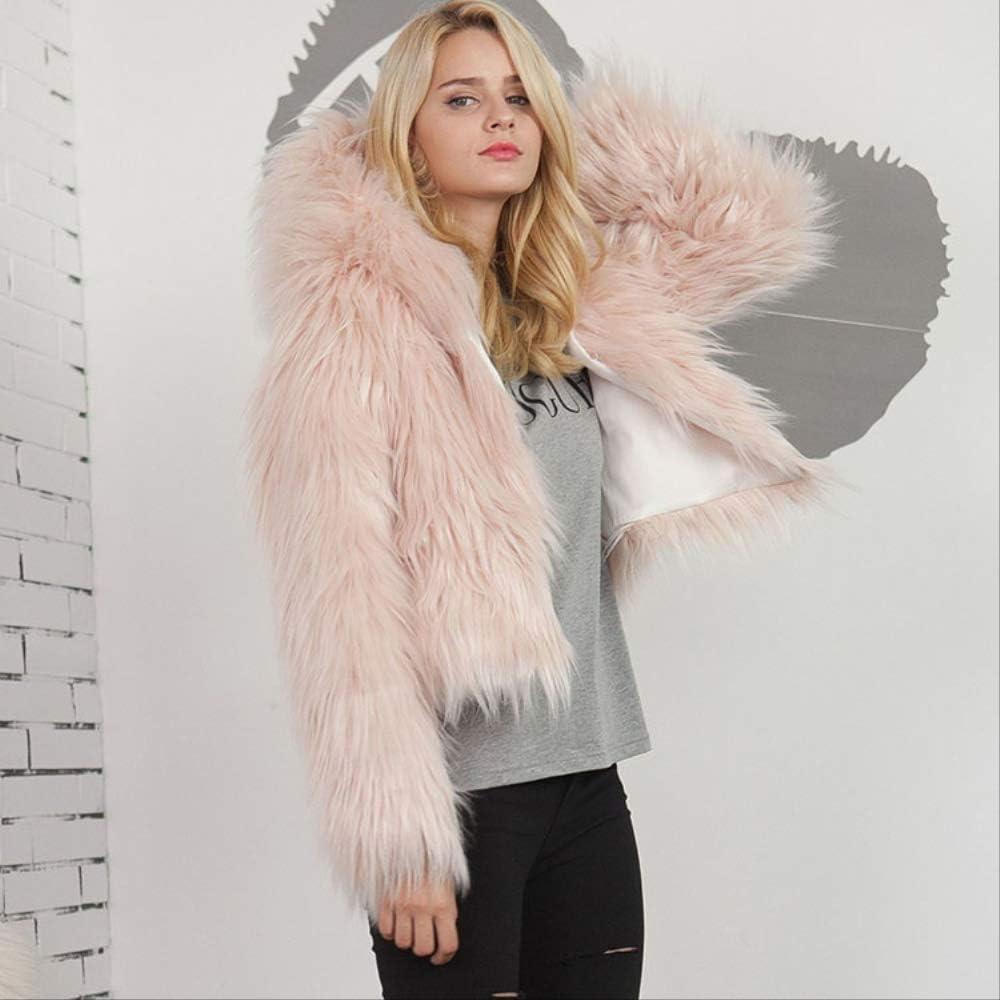 QXNZY Cappotto di Giacche Solide Cappotto con Giacche Lunghe Cappotto Spesso con Cappuccio Cappotto Spesso con Cappuccio Light Pink