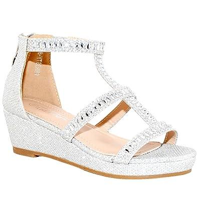 625581d41942 Kid s Fashion Little Girl Pretty Party Dress Bridal Wedge Sandals (11 M US Little  Kid