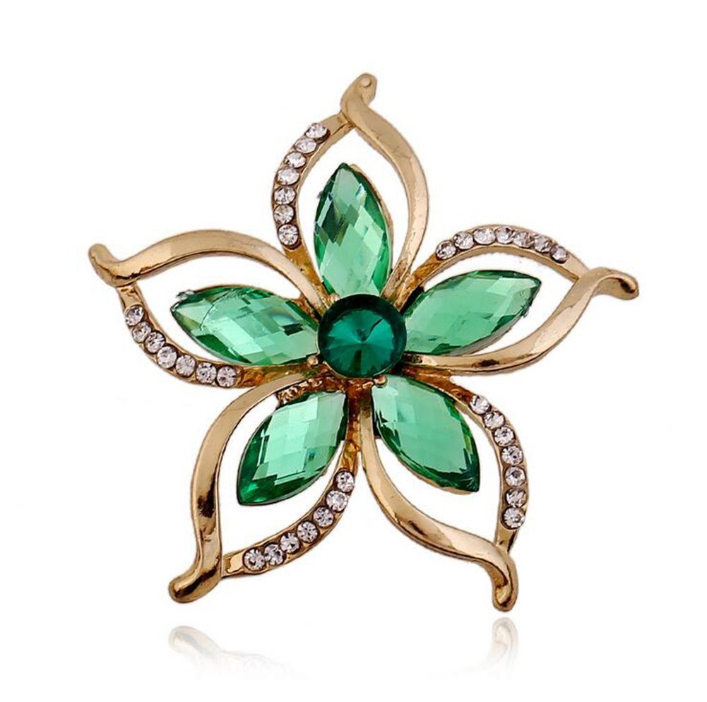 Hosaire Brooch Pin Bauhinia Flowers Scarf pin wiith Rhinestones Crystal Breastpin for Wedding/Banquet/Bouquet Green