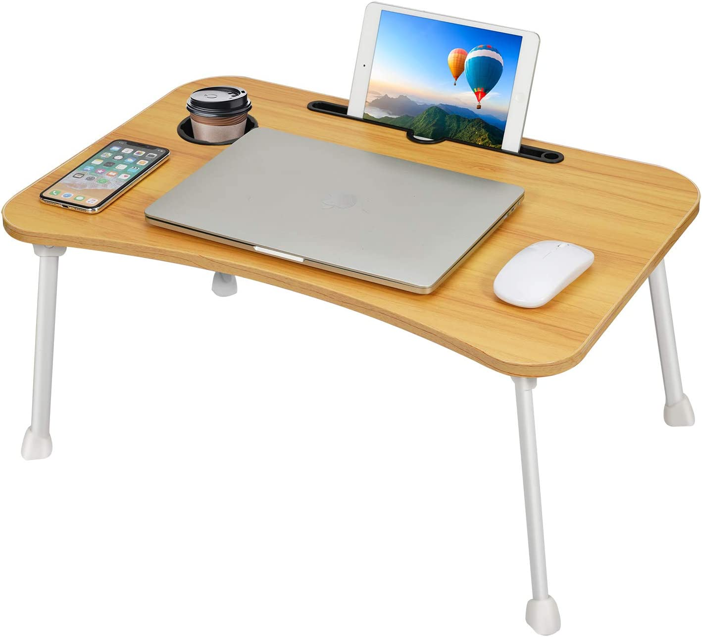 Portable Laptop Lap Desk,Student Computer Desks Coffee Serving Trays Home Office Notebook Stand Desks Bedroom Sofa Dormitory Tablet Lapdesks Lap Tablet with Cup Holder for Home Reading Writing Tables