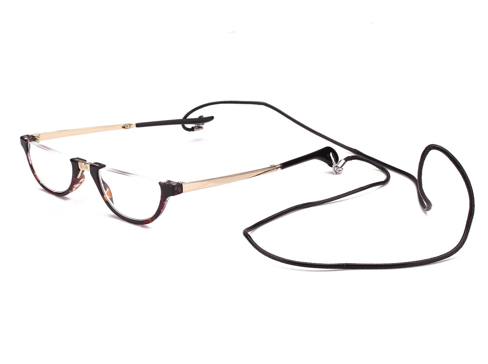 Agstum Mens Womens Half Moon Foldable Reading Glasses with Case (Tortoise shell, 1.5)