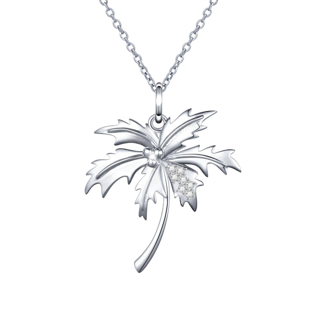 Yearace 925 Sterling Silver Palm Tree Necklace Simple Coconut Tree Pendant Charm Women, 18 inch Rolo Chain
