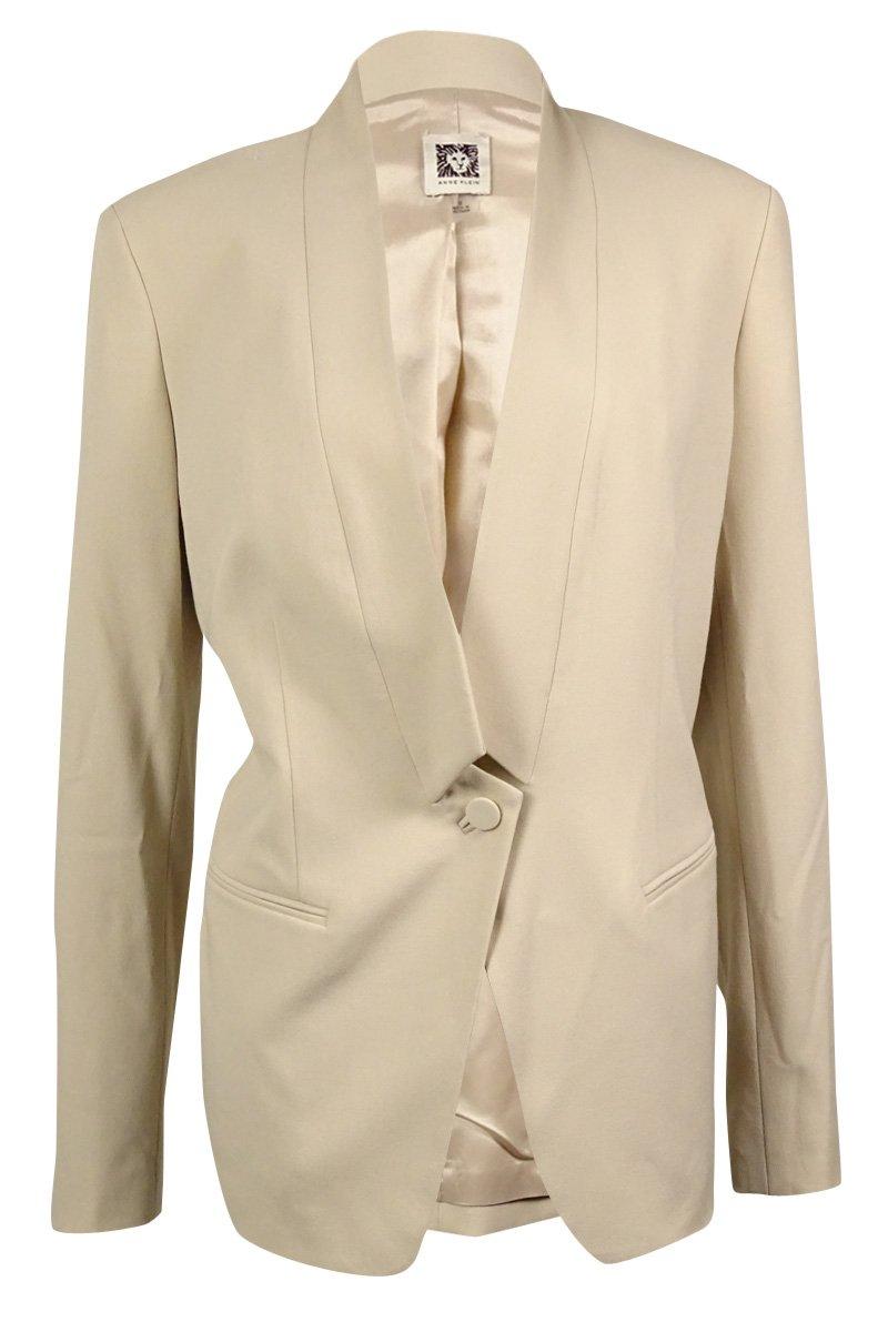 Anne Klein Women's Shawl Welt-Pocket Blazer (8, Beige)