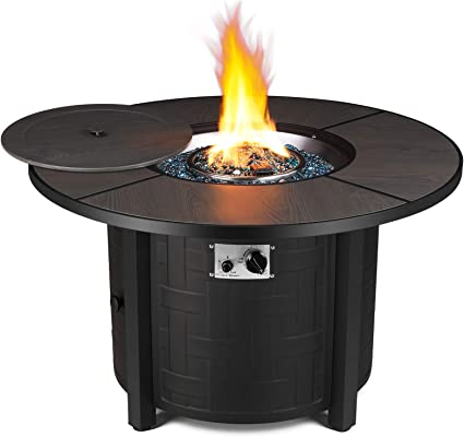 Amazon Com Femor 42 In Propane Fire Pit Table 50 000 Btu Auto Ignition Fire Bowl With Blue Fire Glass Waterproof Firepit Table Cover Csa Certification Outdoor Fireplace For Patio Courtyard Balcony Garden