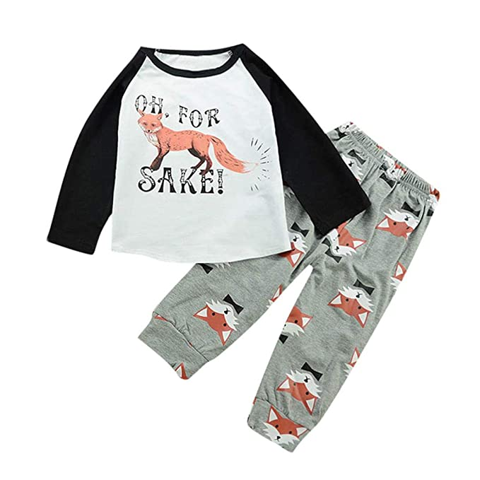 Amazon.com: SRYSHKR Newborn Baby Girls Clothes Set Fox Print Long ...