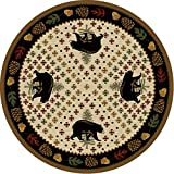 Bear Patchwork Natural Rug - 8 Ft. Round
