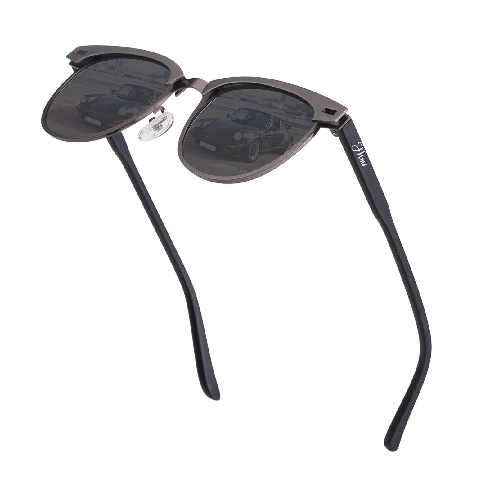 Vintage Semi Rimless Polarized Sunglasses for Men Women Stylish Brand Design Sun Glasses Metal Retro Half Frame Eyewear by HTMS