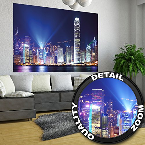 Hong Kong at night wall decoration - Mural China Motiv / beautiful XXL wallpaper by GREAT ART (55 Inch x 39.4 Inch/140 cm x 100 cm)