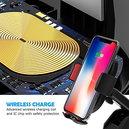 10W Wireless Car Charger, Detuosi Car Wireless Charger Car Phone Mount, Fast Charge for Samsung Galaxy S9/S8 plus/S8/S7/S6 Note 8/5, Standard Charge for iPhone X/8/8 Plus and all Qi Enabled Phones by DBNICE (Image #7)