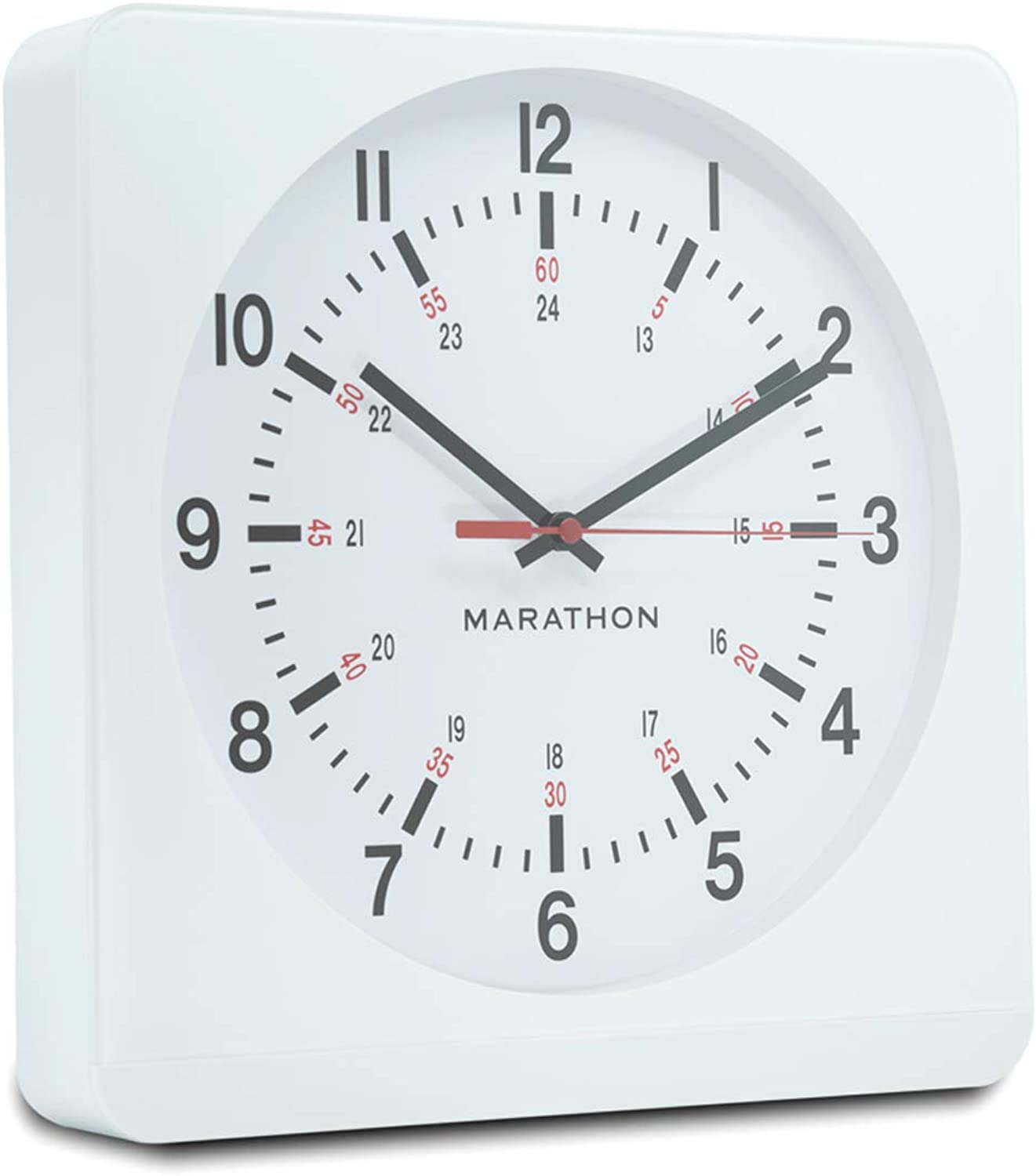 Marathon 12 Inch Analog Wall Clock with Auto Back Light and Non Ticking Silent Sweep. Commercial Grade. Batteries Included