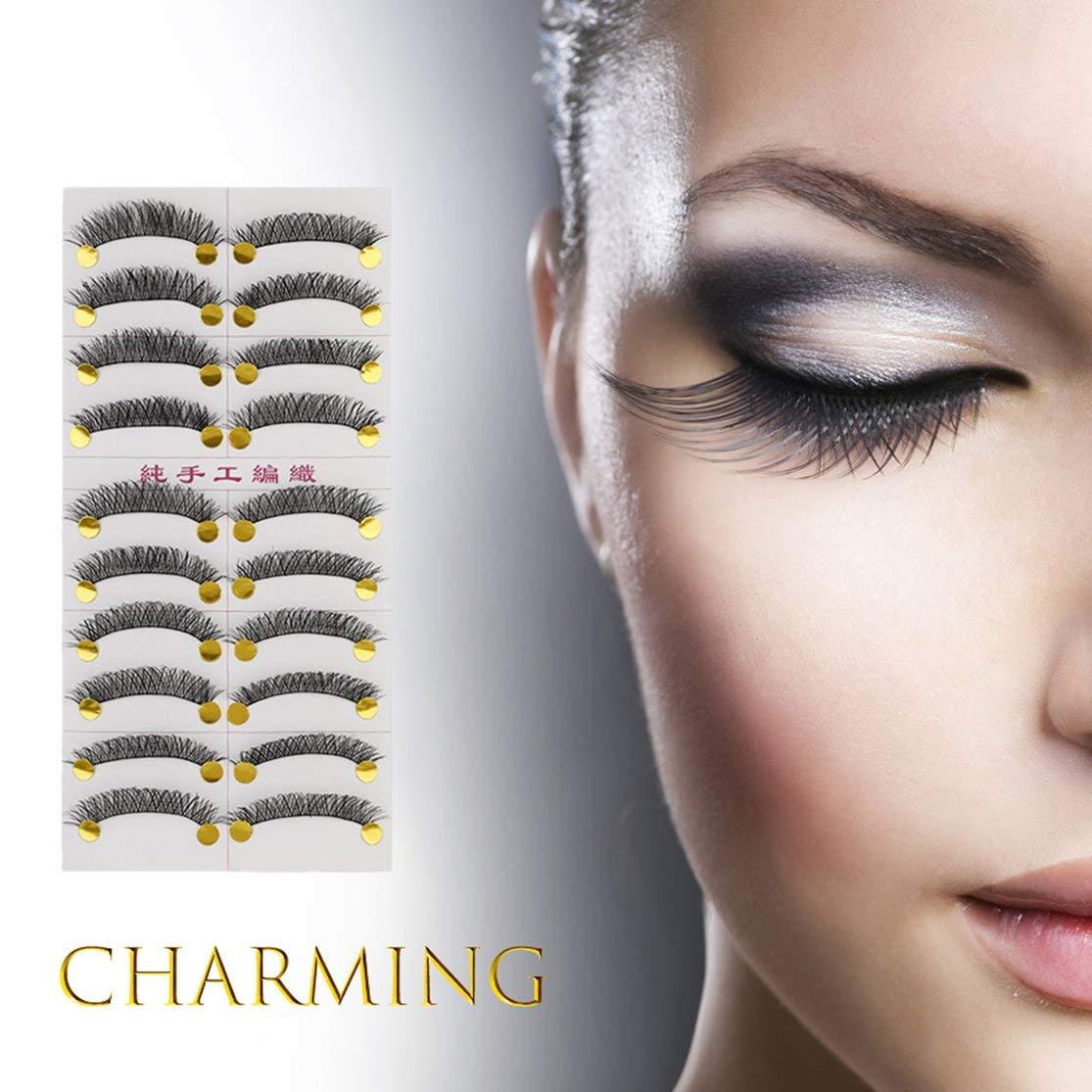 LouiseEvel215 M14 Handmade False Eyelash Janpanese Style Pure Manual Long Thick Messy 10 Pairs Popular Beauty Tool for Women Makeup