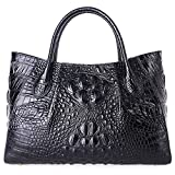 PIFUREN Designer Crocodile Top Handle Handbags Womens Genuine Leather Tote Bags E75002A (Large Size, Black)