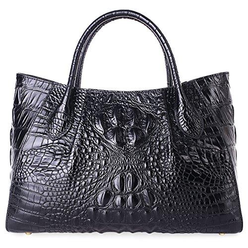 Genuine Crocodile Bag - PIFUREN Designer Crocodile Top Handle Handbags Womens Genuine Leather Tote Bags 5002A Black
