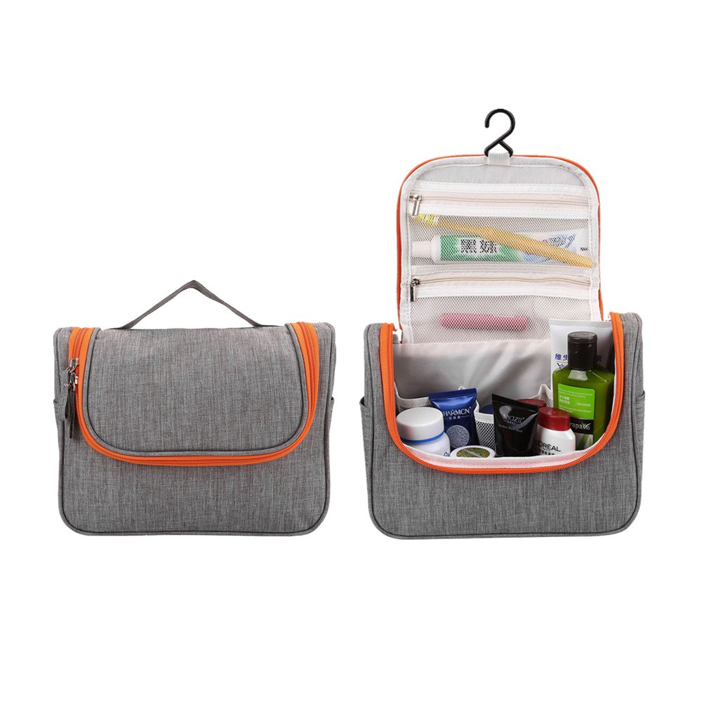 Mornajina Hanging Toiletry Bag Travel Cosmetic Organizer Toiletries Accessories Kit Vacation Waterproof Shampoo Make Up Case Compact Bathroom Storage for Women Men(Gray)