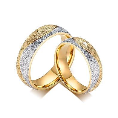 prix compétitif d81e4 0a7b1 BOBIJOO Jewelry - Alliance Bague Anneau Acier Plaqué Or Jaune Zirconium  Strass Mariage Fiançaille Couple Au Choix