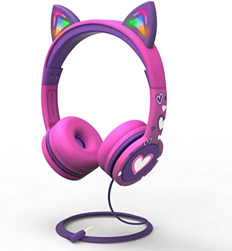 FosPower Kids Headphones with LED Light Up Cat Ears 3.5mm On Ear Audio Headphones for Kids with Laced Tangle Free Cable Max 85dB – Hot Pink Purple