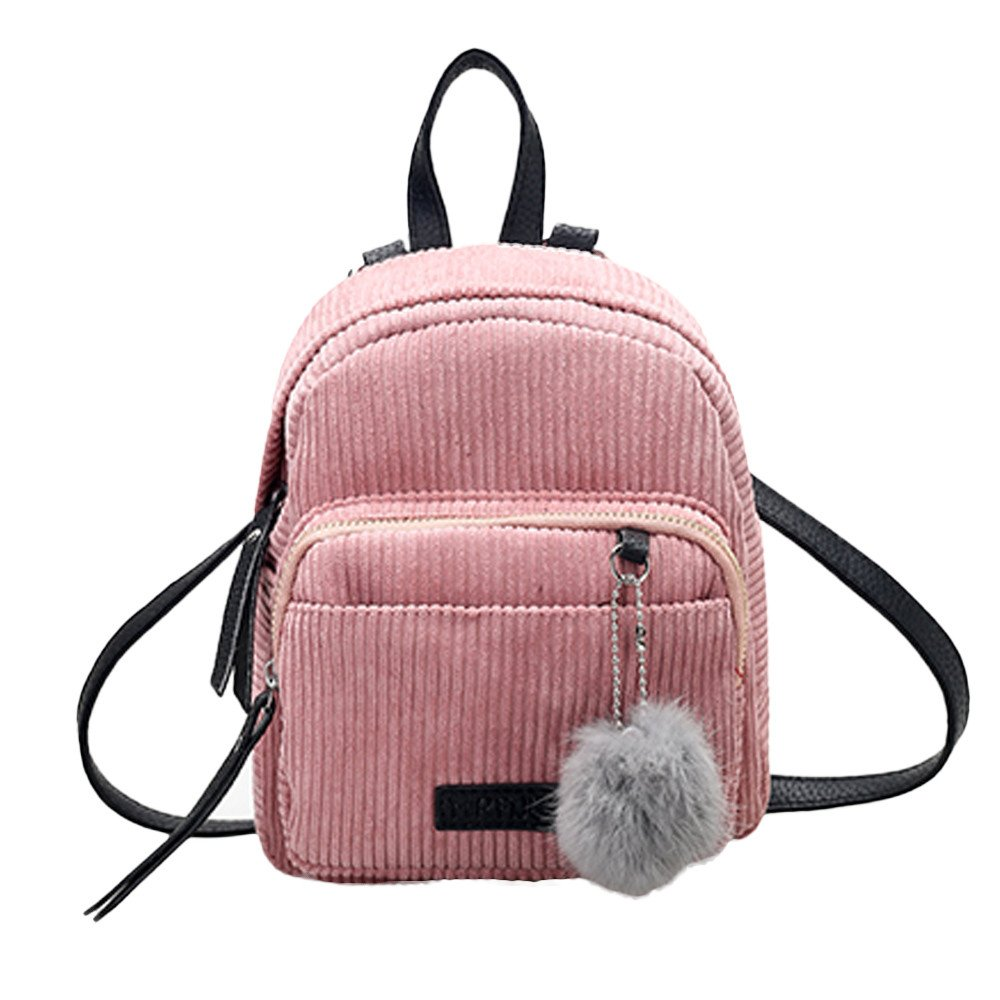 Shoulder Bags, Backpacks for Woman Girl Vintage Corduroy Travel School Bag Cute Striped Pompon Backpack (Pink)