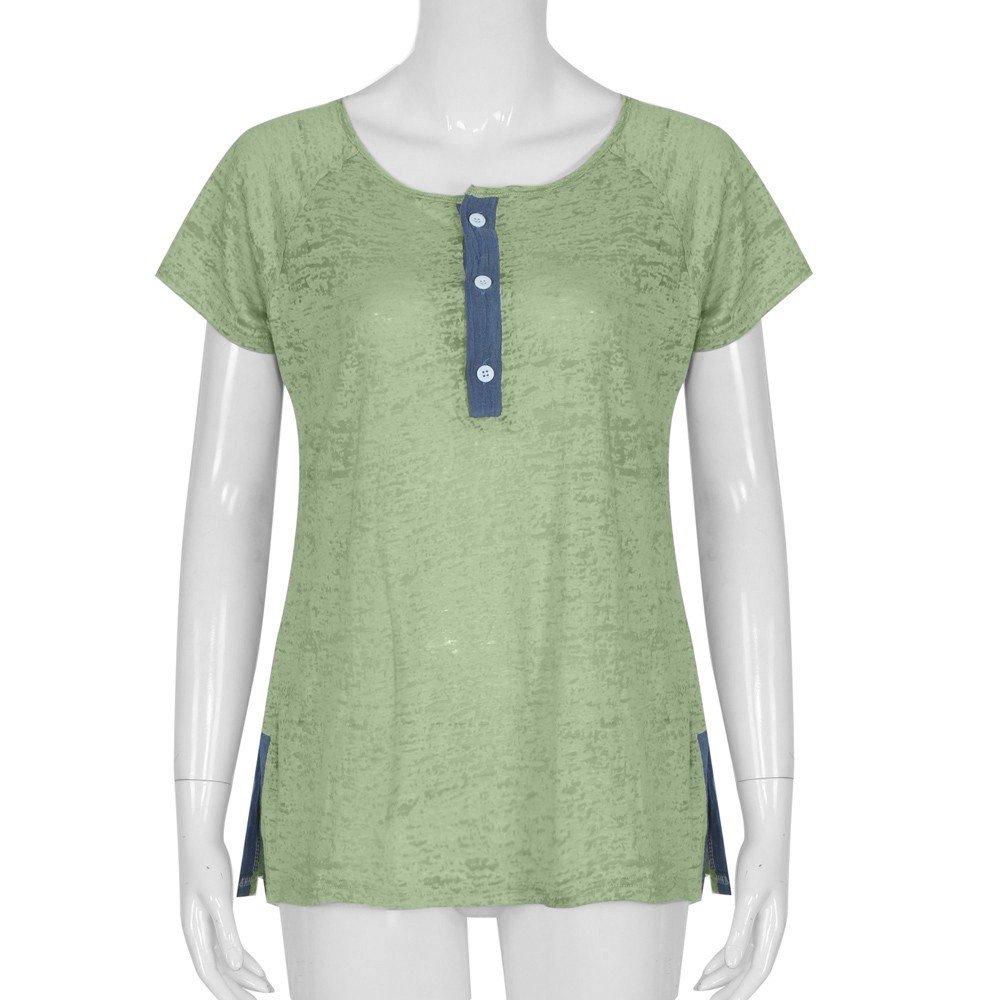 Auwer Women Casual Short Sleeve Button Plus Size Cotton Blouse T Shirt Fashion Patchwork Tank Tops Patchwork Blouse