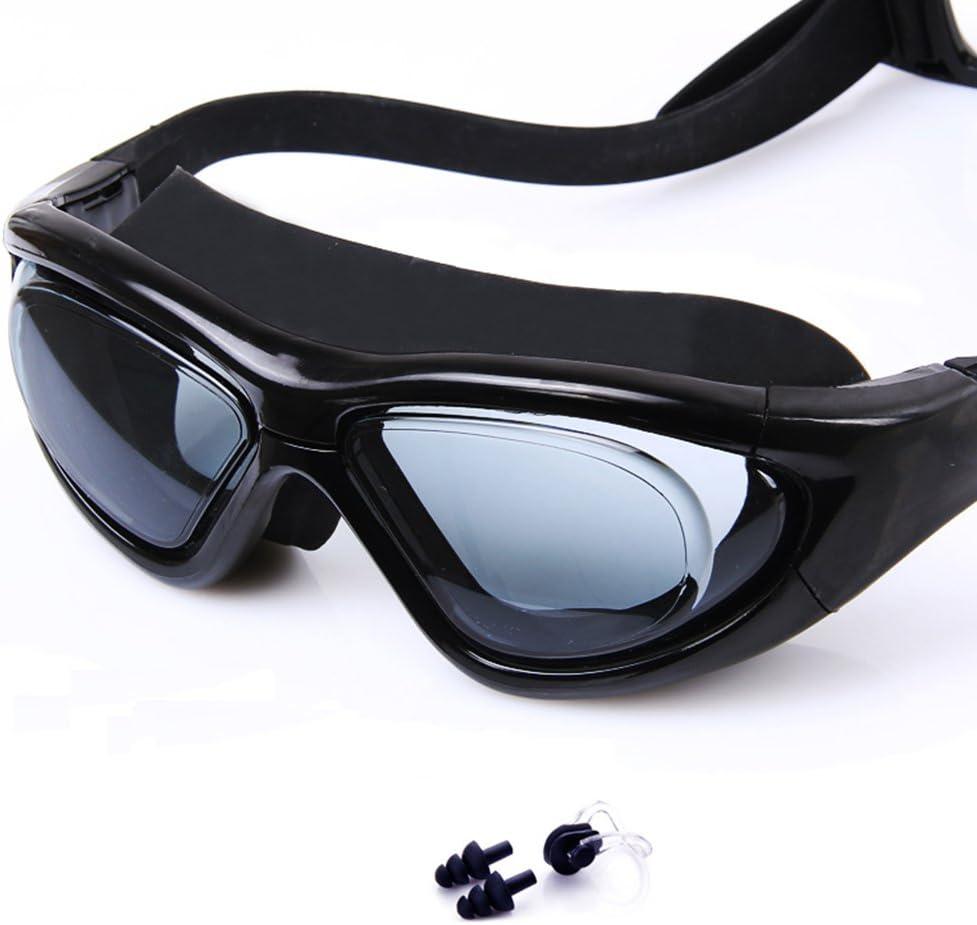 William 337 Gafas de natación Profesión SiliconeLarge Frame Impermeable UV Gafas de natación antiniebla (Color : B)