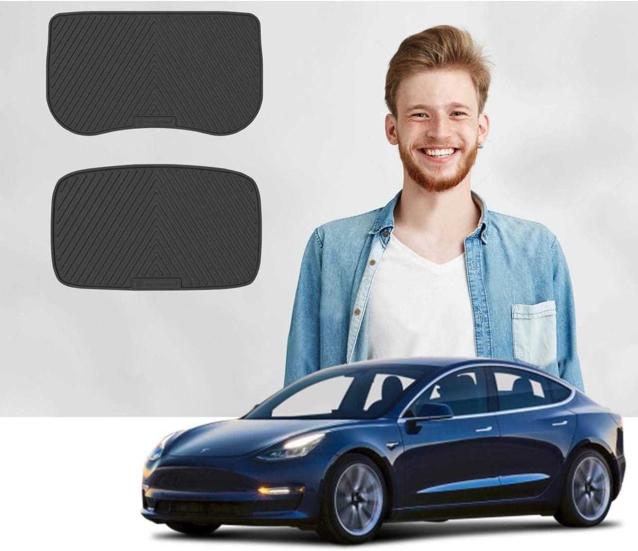 3D All-Weather Car Floor Mats Liner Front Rear Black For Tesla Model 3 2017-2021