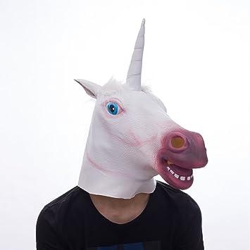 Cabeza de máscara de animal de unicornio, máscara de caballo espeluznante, máscara de látex