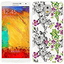 note3 Case, Samsung note 3 Case, Galaxy note3 Case , ChiChiC full Protective unique Case slim durable Soft TPU Cases Cover for Samsung Galaxy Note3 N900A N900V N9000 N9002 N9005 N900P N900T,vintage hand drawn black pink flower and green leaves on white background