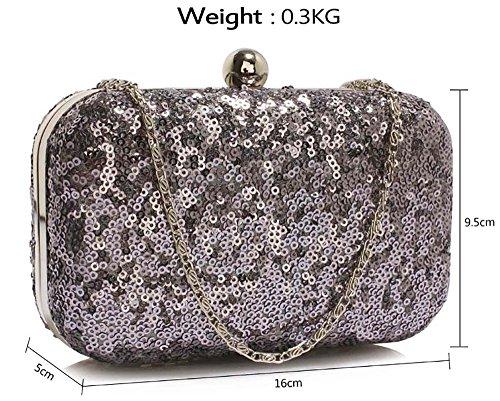 Womens Clutch Look Bag With Ladies New Handbag Design Shinny Grey 1 Fancy Chain Evening Sequin Designer fxR4x