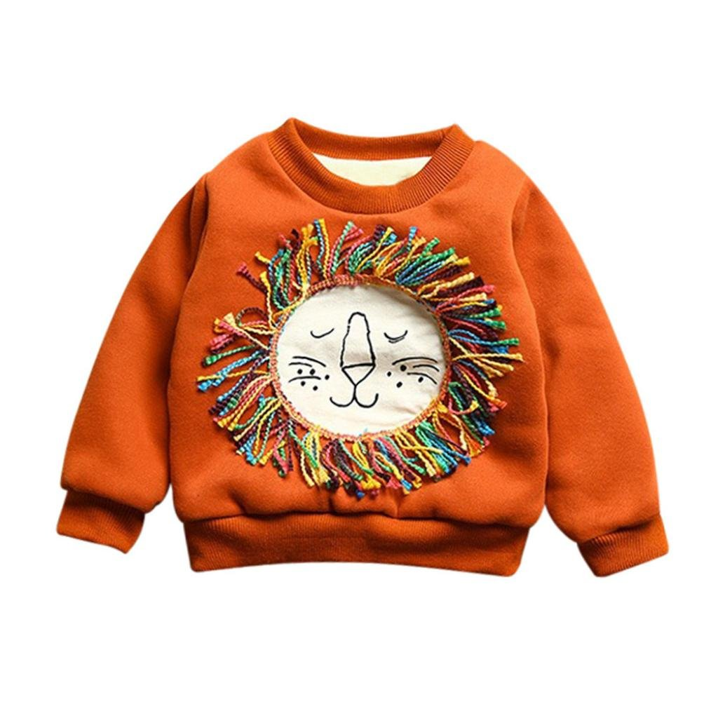 SUNBIBE 1-3 Years old Cute Toddler Kids Baby Boy Cartoon Lion Long Sleeve Tops Warm Blouse Outfit Clothes
