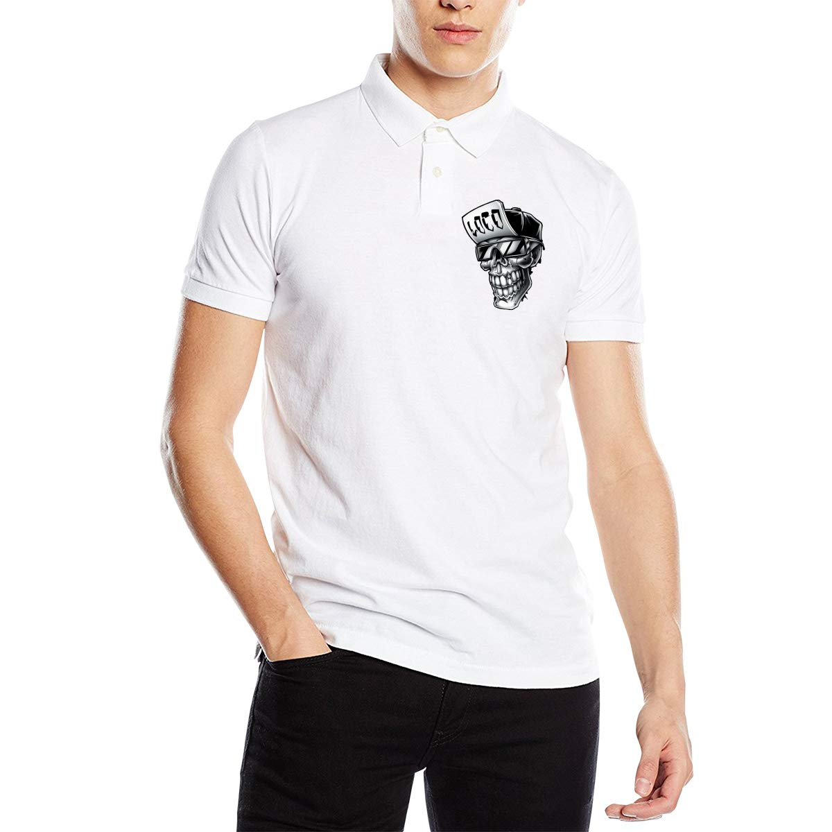Allison Polly Skull Mens Classic Short Sleeve Solid Color Soft Cotton Polo Sports Shirt White