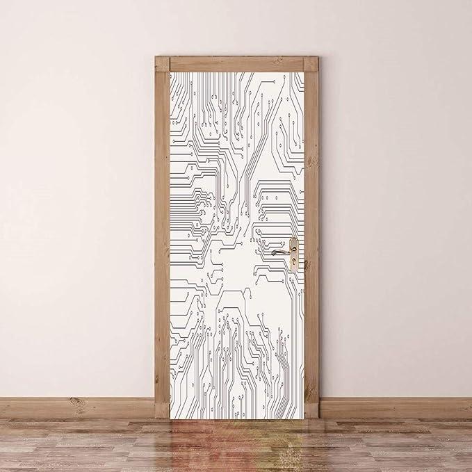 3D Puerta Pegatinas De Pared De Circuito Eléctrico De Calidad PVC Autoadhesivo Impermeable Extraíble Calcomanías De Arte Para La Decoración Del Hogar Mural 77x200cm: Amazon.es: Bricolaje y herramientas
