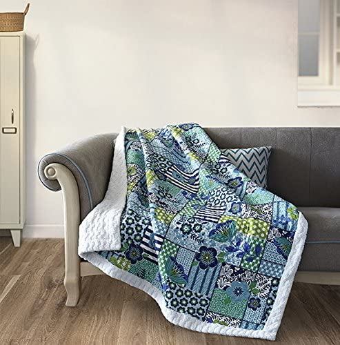 Virah Bella Enchanted Teals Quilt Throw with Sherpa Backing