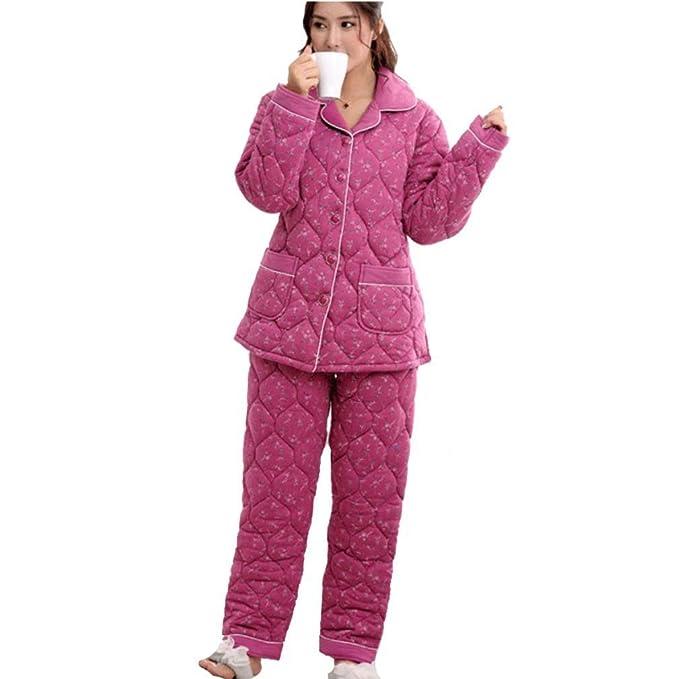 MOXIN Invierno Pijama Señoras Tres Gruesas De Algodón De Lana Ocio De Servicio A Domicilio Rosa