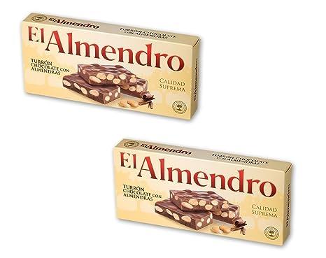 El Almendro - Pack incluye 2 Turrón de Chocolate con almendras - 250 gr Calidad suprema