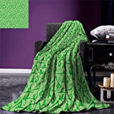 smallbeefly Yoga Throw Blanket Women Silhouettes Meditation Poses Pattern Fitness Healthy Lifestyle Hobbies Relaxing Warm Microfiber All Season Blanket for Bed or Couch Lime Green