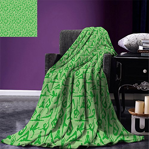 smallbeefly Yoga Digital Printing Blanket Women Silhouettes Meditation Poses Pattern Fitness Healthy Lifestyle Hobbies Relaxing Summer Quilt Comforter Lime Green by smallbeefly