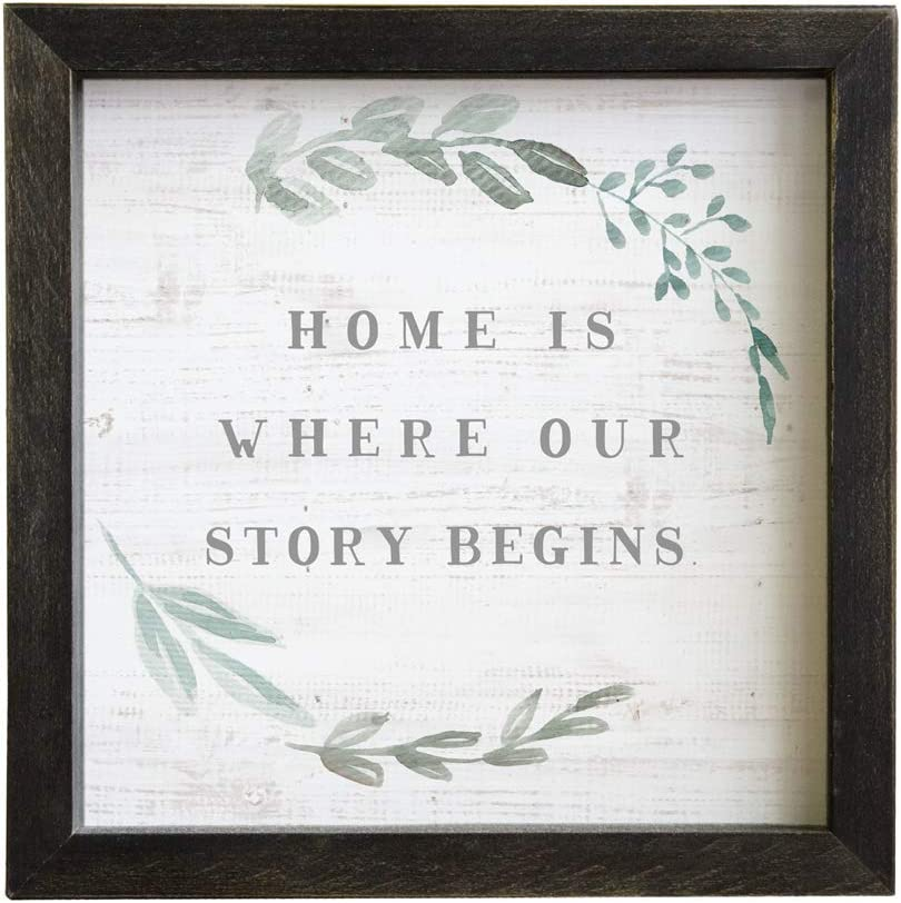 "Simply Said, INC Rustic Frame 10"" Sign RF1090- Home is Where Our Story Begins"